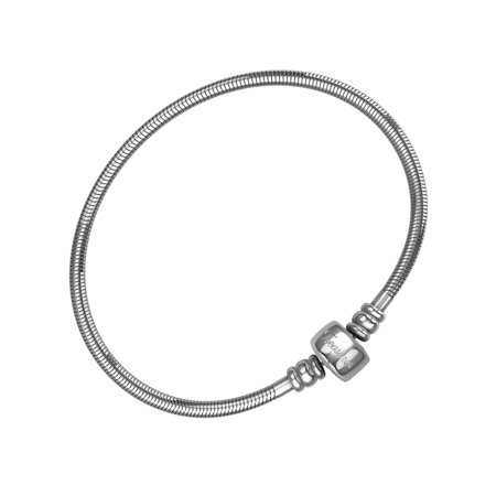 Charm Bracelet For Women, Stainless Steel Snake Chain, Fits Pandora Charms, Barrel Snap Clasp, 7.5 Inch (19 cm) - White Glow Bracelets