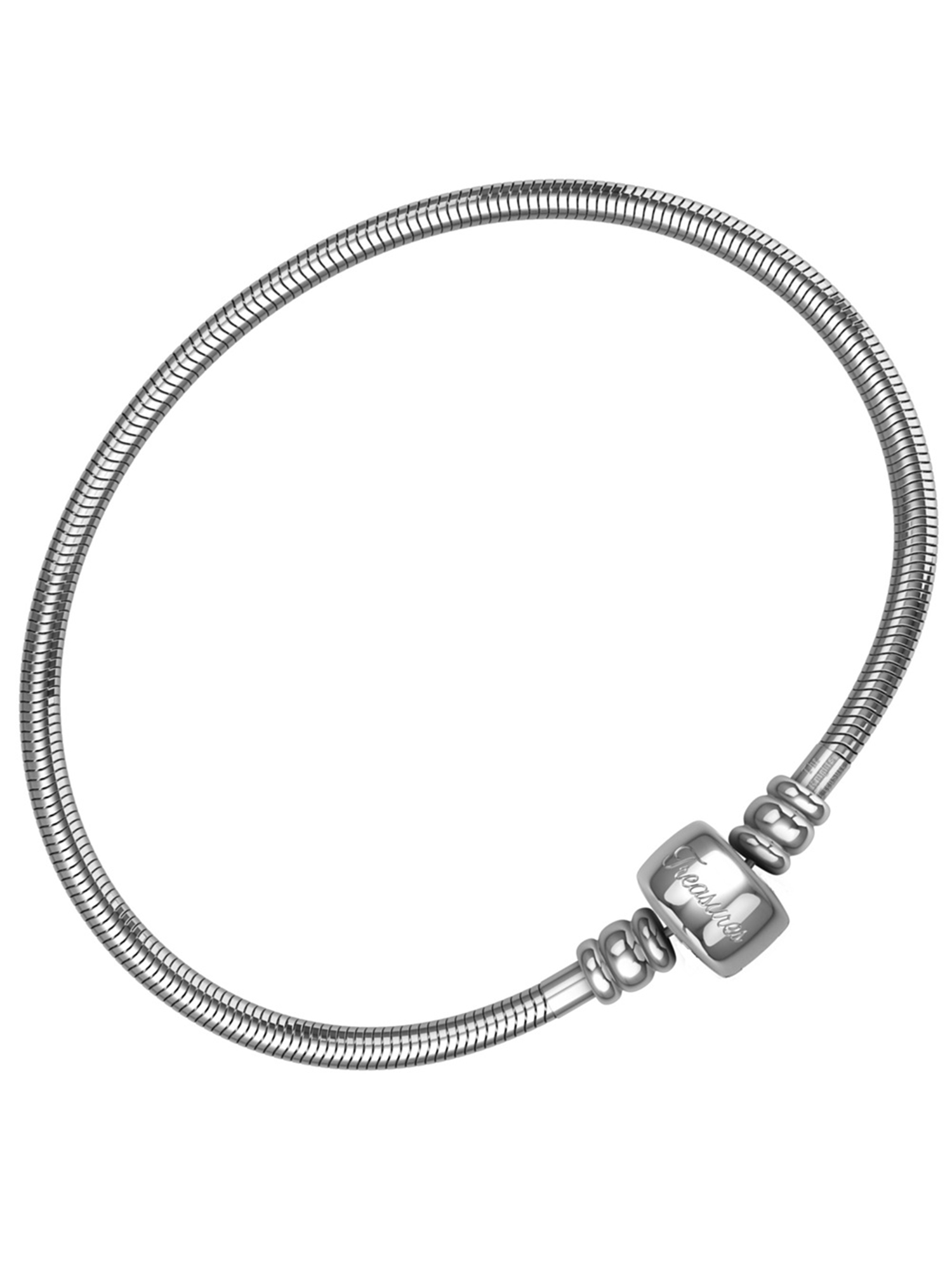 Charm Bracelet For Women, Stainless Steel Snake Chain, Fits Pandora Charms, Barrel Snap Clasp, 7.5 Inch (19 cm)