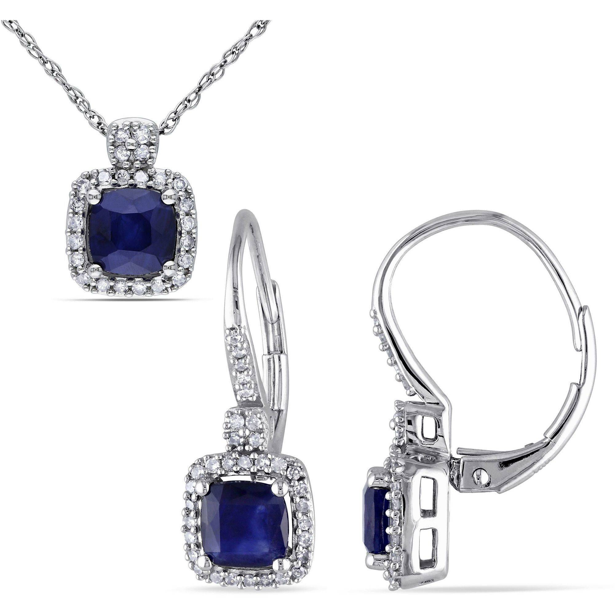 Tangelo 2-1 6 Carat T.G.W. Diffused Sapphire and 1 3 Carat T.W. Diamond 10kt White Gold Halo Pendant and Leverback... by Tangelo