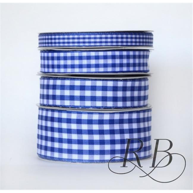 Ribbon Bazaar 5749 0.88 in. Taffeta Gingham Check Ribbon, Royal Blue - 25 Yards