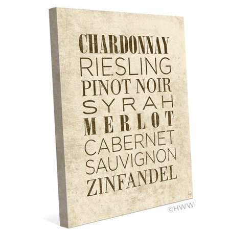 Merlot White Zinfandel Wine - Click Wall Art List of Wine Textual Art on Wrapped Canvas in Beige