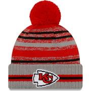 Kansas City Chiefs New Era 2021 NFL Sideline Sport Pom Cuffed Knit Hat - Gray - OSFA