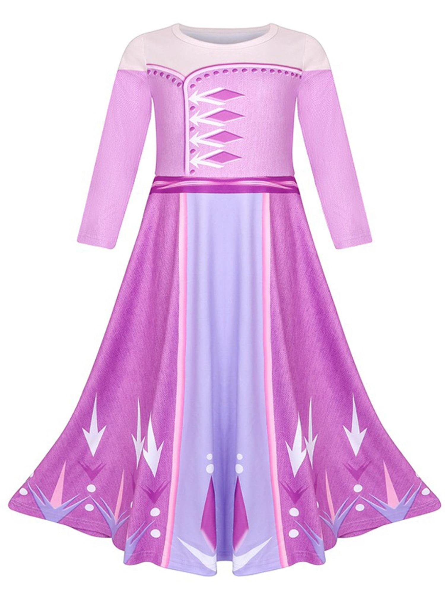 Frozen 2 Girls Costume Kids Queen Elsa Anna Cosplay  Children Fancy Dress Party