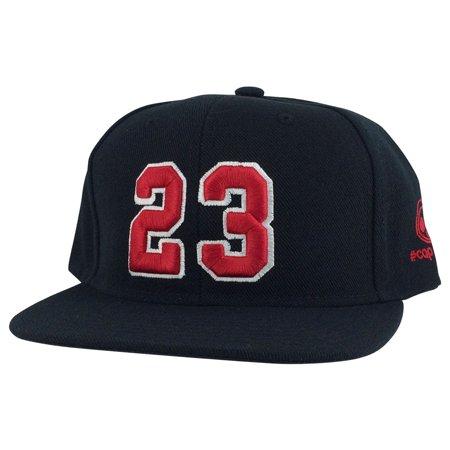 Player Jersey Number #23 Snapback Hat Cap x Air Jordan Lebron - Black Red