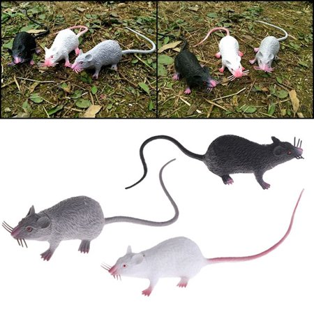 Micelec 1Pc Plastic Rats Mouse Model Figures Kids Halloween Tricks Pranks Props Toy