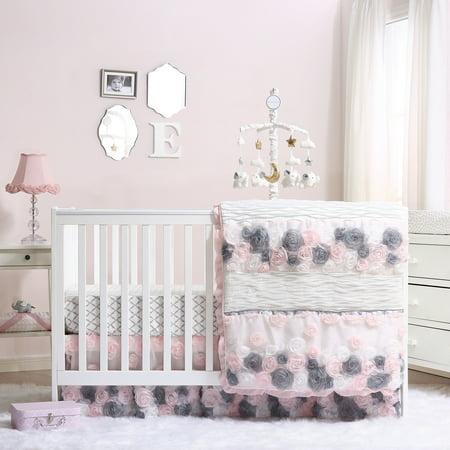 Girls Nursery Bedding - Colette Pink/Grey Floral Baby Girl Crib Bedding - 20 Piece Nursery Essentials Set