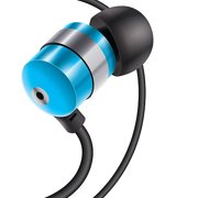 GOgroove audiOHM Earbud Stereo Headphones with Noise Isolation and Included Velvet Carrying Bag, Blue