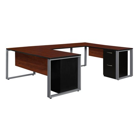 Regency Structure Double Metal Pedestal U-Shaped Office Desk With File  Cabinets