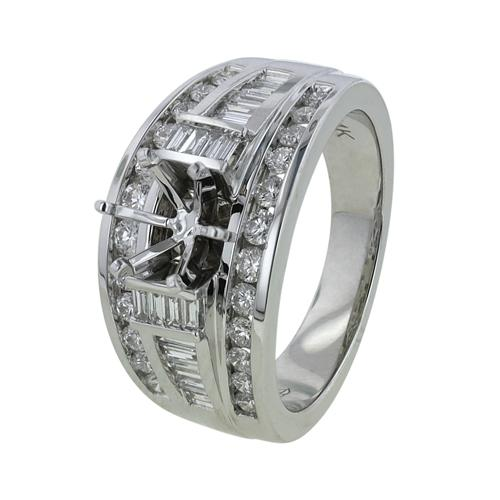 14K White Gold 1.12ct Celebrating Individuality & Baguette Diamond Womens Ring