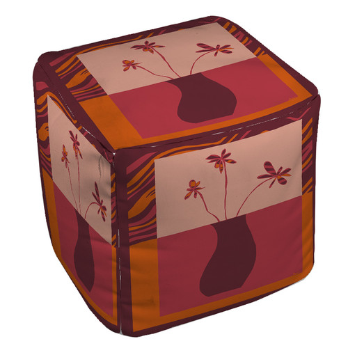 Manual Woodworkers & Weavers Minimalist Flowers 3 Pouf
