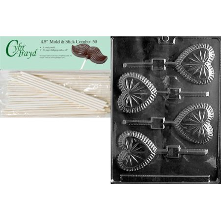 Cybrtrayd 45St50-V089 Crystal Heart Lolly Valentine Chocolate Candy Mold with 50 4.5-Inch Lollipop Sticks