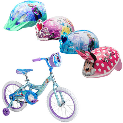 "18"" Huffy Disney Frozen Girls Bike and Bell Sports Disney 3D Helmet Bundle"