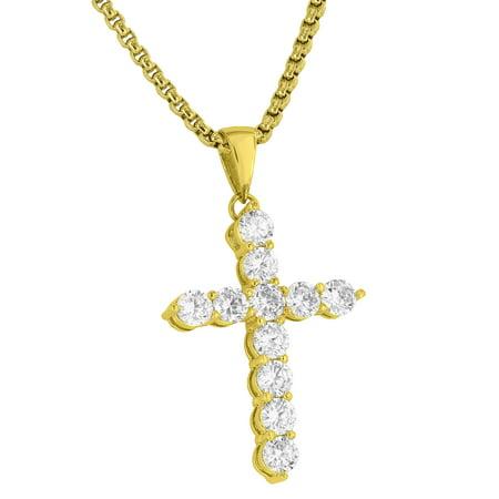 Jesus Cross Crucifix Pendant Solitaire Simulated Diamonds Free Box Necklace 18K Gold Tone