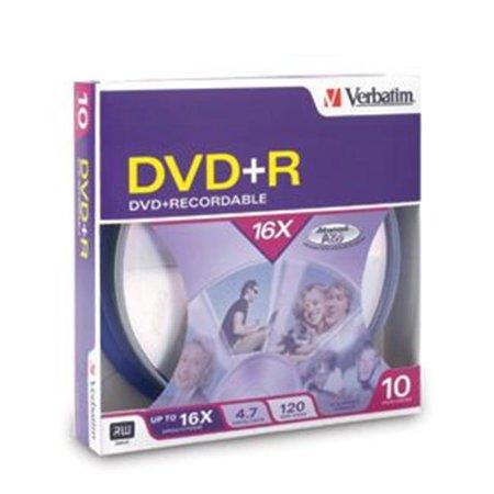 Verbatim 95032 16x DVD + R Media 4.7GB 120mm Standard - image 1 de 1
