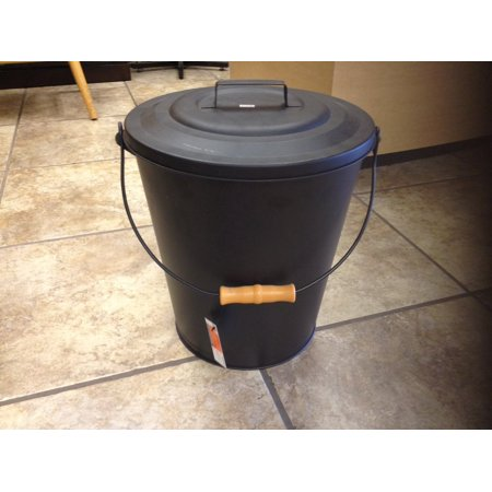 Pleasant Hearth Black Fireplace Wood Stove Ash Coal Bucket with Lid