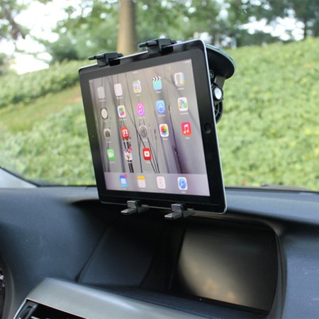 Multi Angle Rotating Car Mount Windshield Tablet Holder Window Swivel Cradle Suction Black Obo For Amazon Fire Kids Edition  Kindle   Ipad 2 3   Asus Google Nexus 2 7   Barnes   Noble Nook Color Hd