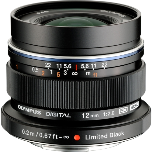 Olympus M. Zuiko Digital ED 12mm f/2.0 Lens for Micro 4/3 Cameras  (Black)