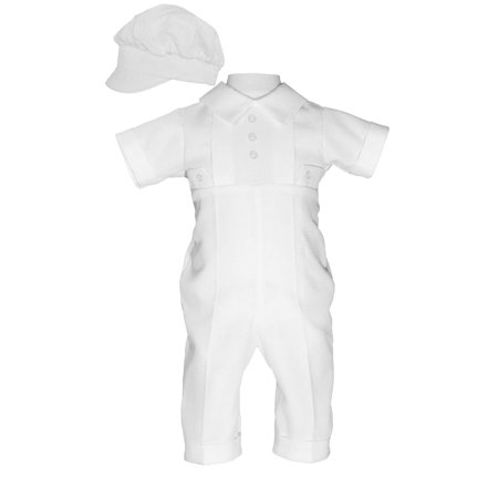 Baby Boys White Poly Cotton Waffle Pique Hat Christening Baptism