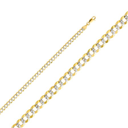 14k Two Tone Italian Gold Curb Open Light 4.7 mm Diamond Cut White Pave Chain Cuban Links Necklace 20