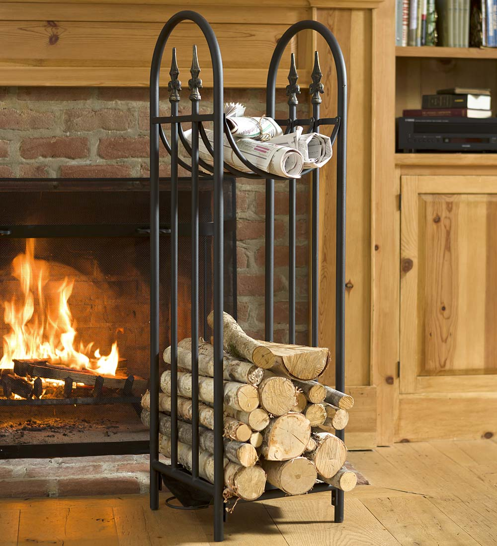 Hearthside Finial Compact Log Rack with Curved Top Rack, in Black