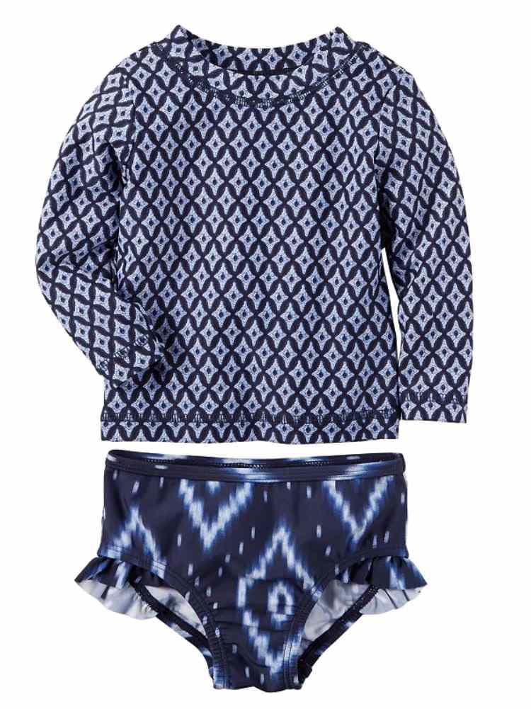 Carters Infant Girls Blue Diamond Swimming Suit Rash Guard Cover Up Set