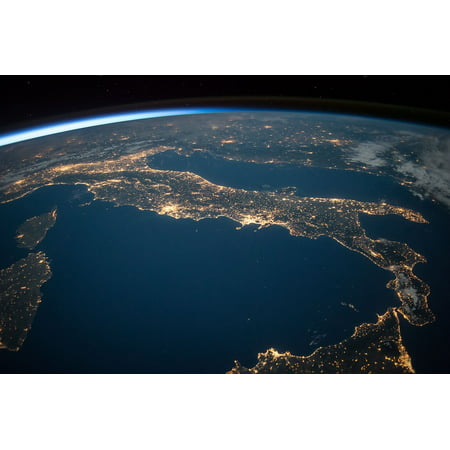 Canvas Print Space View International Space Station Night Earth Stretched Canvas 10 x (View Of Earth From International Space Station)