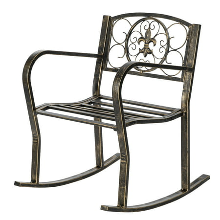 Outdoor Rocking Chairs for Porch, Metal Rocking Chair Patio Furniture, Vineyard Outdoor Chairs, Garden Rocking Chair, Retro Paint Brush Gold Iron Art Rocking Chair, Patio Furniture, Black, W10631 Outdoor Painted Chair