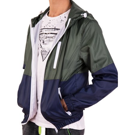 LELINTA (Two-piece Set) Mens Jacket Couple Casual Windbreaker Sporting Hooded Jackets Comfortable Coat Unisex Zipper Outerwear Grey/Green Color