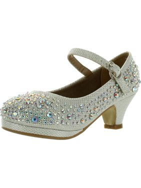 Forever Dana-58k Kids Mid Heel Rhinestone Pretty Sandal Mary Jane Platform Dress Pumps