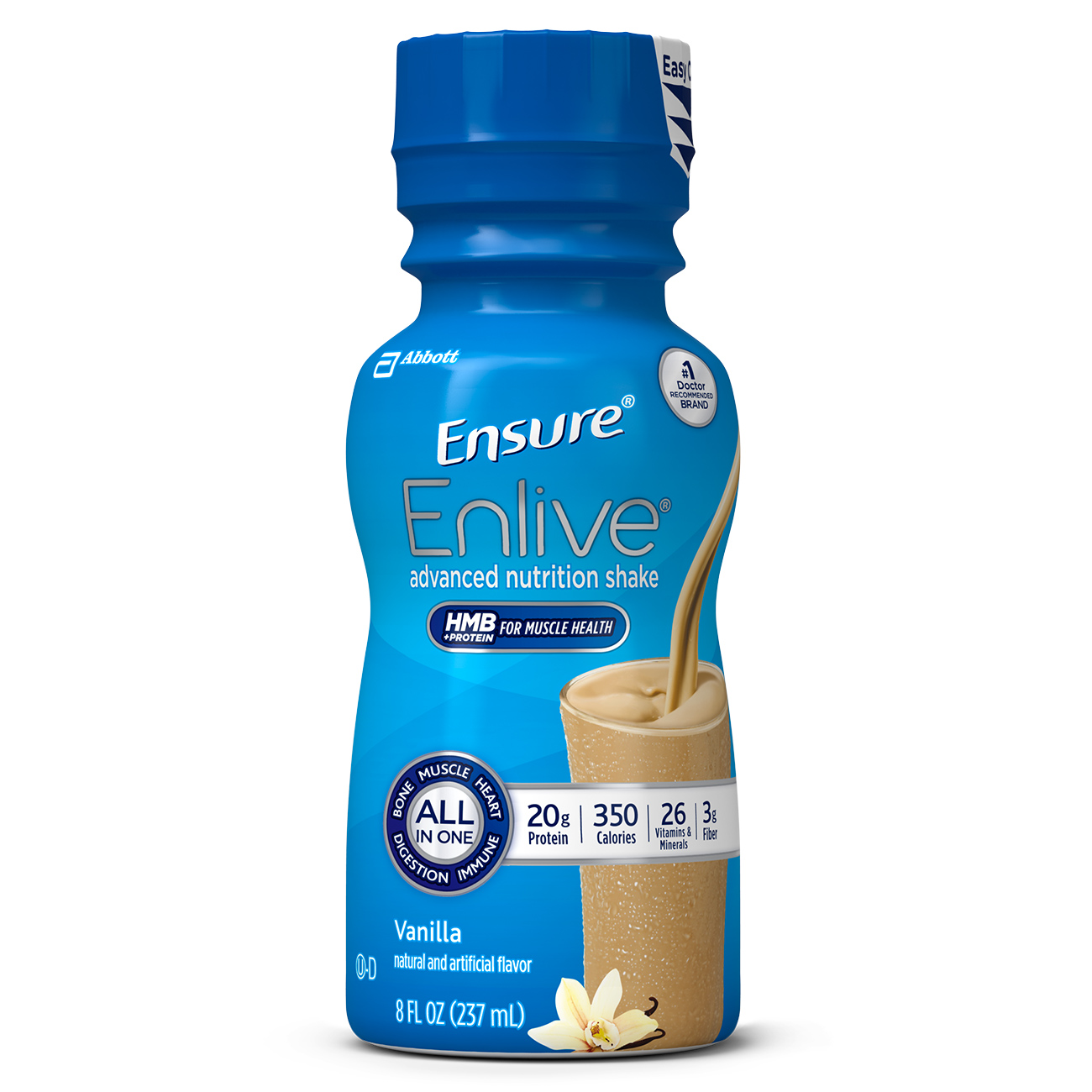Ensure Enlive Advanced Nutrition Shake Vanilla with 20 grams of high-quality protein, Meal Replacement Shakes, 8 fl oz Bottles (Pack of 16)