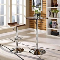 Modway Bentwood Bar Stool with Chrome Steel Frame in Oak