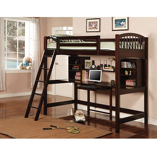 Coaster Twin Over Desk Wood Loft Bed, Cappuccino
