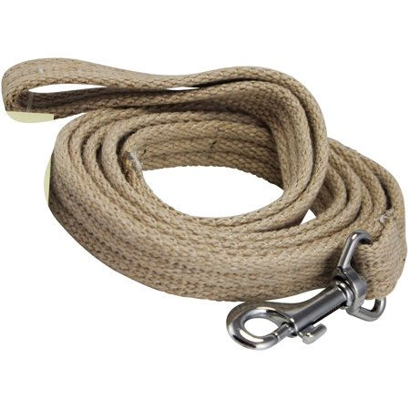 Dog Leash 4.5ft Long Organic Cotton Web for Training, Beige 4 Sizes (Large: 1