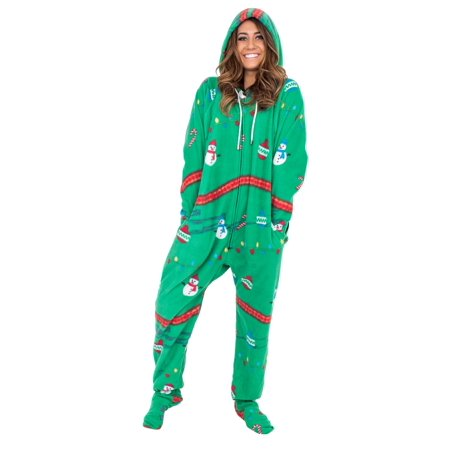 Green Christmas Pajama - Snowmen and Lights Green Christmas Pajama Union Suit with Hood