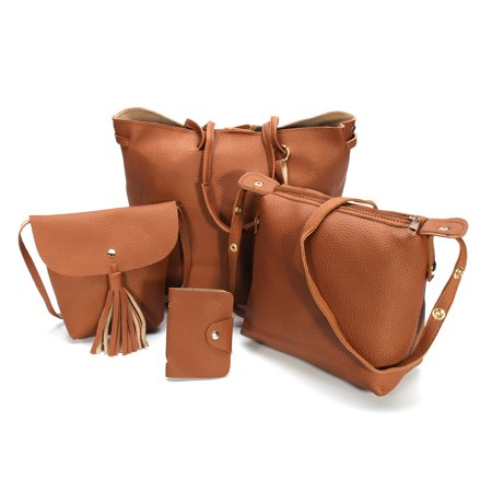 Clutch Purse Handbag Bag - 4pcs Women PU Leather Handbag Shoulder Bag Tote Purse Messenger Satchel Clutch
