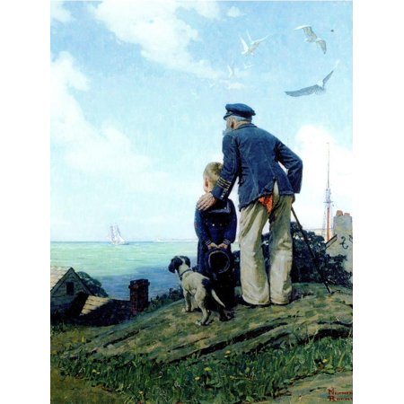 The Stay at Homes (or Outward Bound; Looking Out to Sea) Print Wall Art By Norman