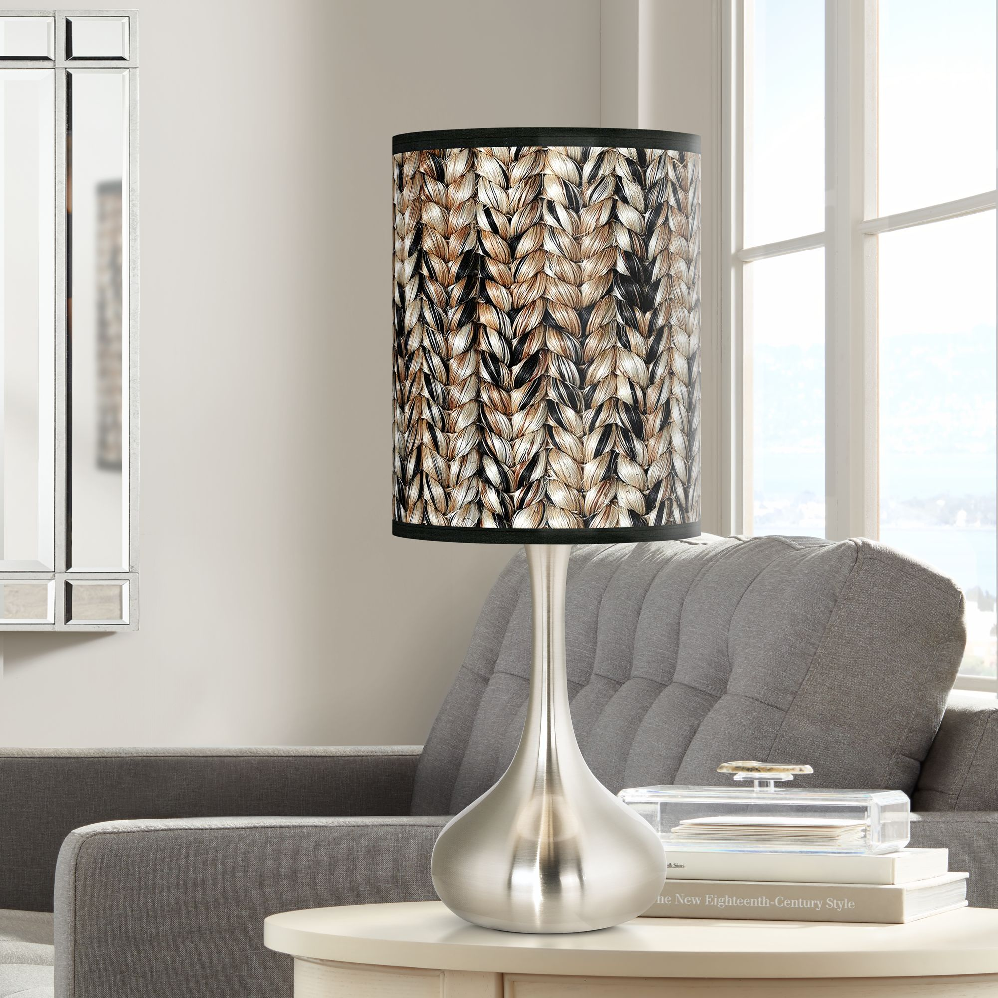 Giclee Glow Braided Jute Giclee Droplet Table Lamp