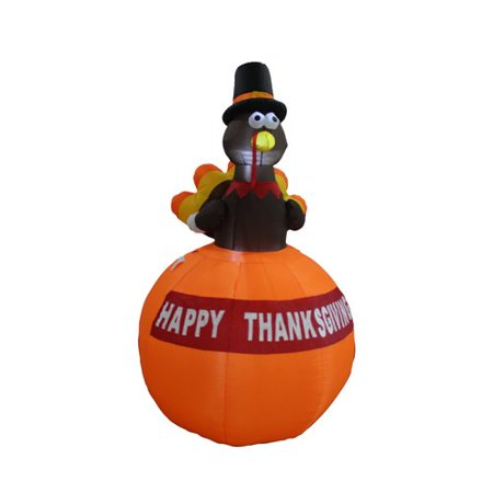 The Holiday Aisle Halloween Inflatable Turkey on Pumpkin (Pagan Holiday Halloween)
