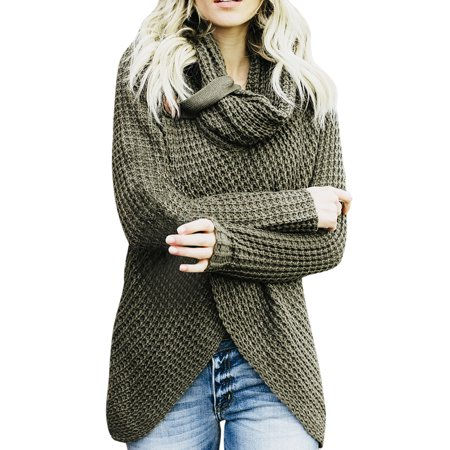 Womens Sweaters Turtle Cowl Neck Chunky Cable Knit Button Wrap Pullover Sweater Coats, Green Cable Cowl Neck Sweater