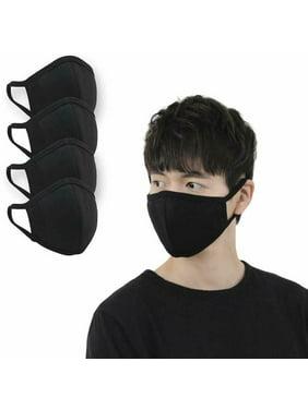 [WINGSCLOGO] Cotton 3D Washable Face Mask, Reusable Facial Cover #Black 4ea SET