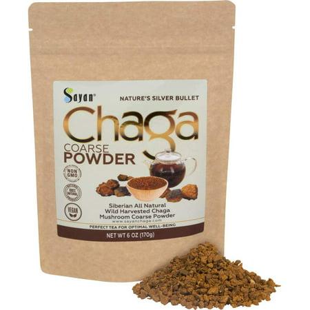 Sayan Siberian Raw Ground Chaga Powder 6 Oz (170g) | Wild Forest Mushroom Tea | Powerful Adaptogen Antioxidant Supplement | Support for Immune System, Digestive Health and Helps Inflammation Reduction