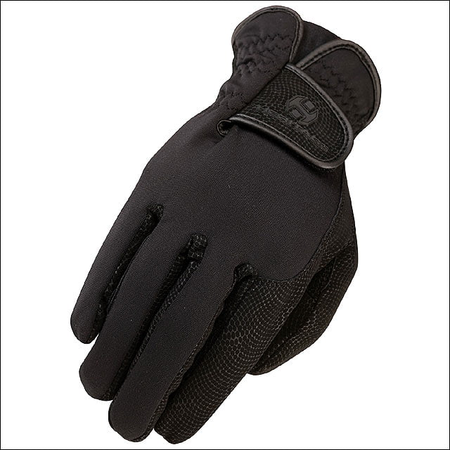 05 SIZE HERITAGE SPECTRUM WINTER HORSE RIDING BREATHABLE LEATHER GLOVE BLACK by HERITAGE GLOVES