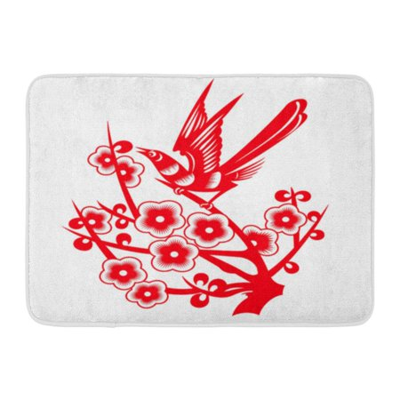 (GODPOK Flower Red Magpie Stood on The Plum Branches Cut Patterns Year Bird Rug Doormat Bath Mat 23.6x15.7 inch)