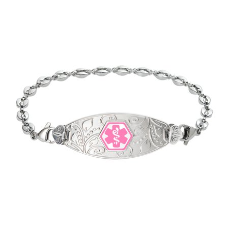 Divoti - Divoti Deep Custom Laser Engraved Lovely Filigree Medical Alert  Bracelet -Stainless Anchor - Walmart com