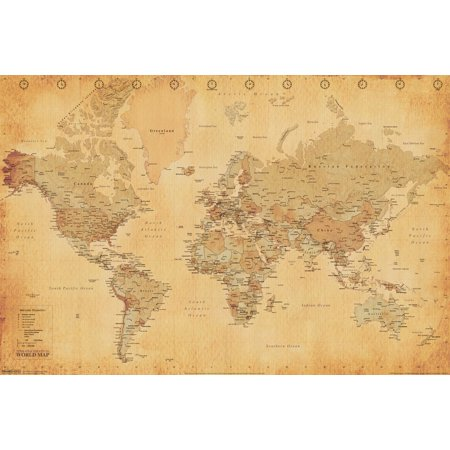 World Map Vintage Antique Style Longitude Latitude Earth Atlas Poster   18X12 Inch