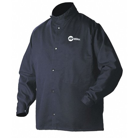 30' Welding Jacket (Miller Electric Navy 88% Cotton, 12% Nylon Welding Jacket, Size: 3XL, 30