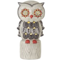 "12.5"" Gray and Orange LED Owl on Perch Halloween Tabletop Decor"