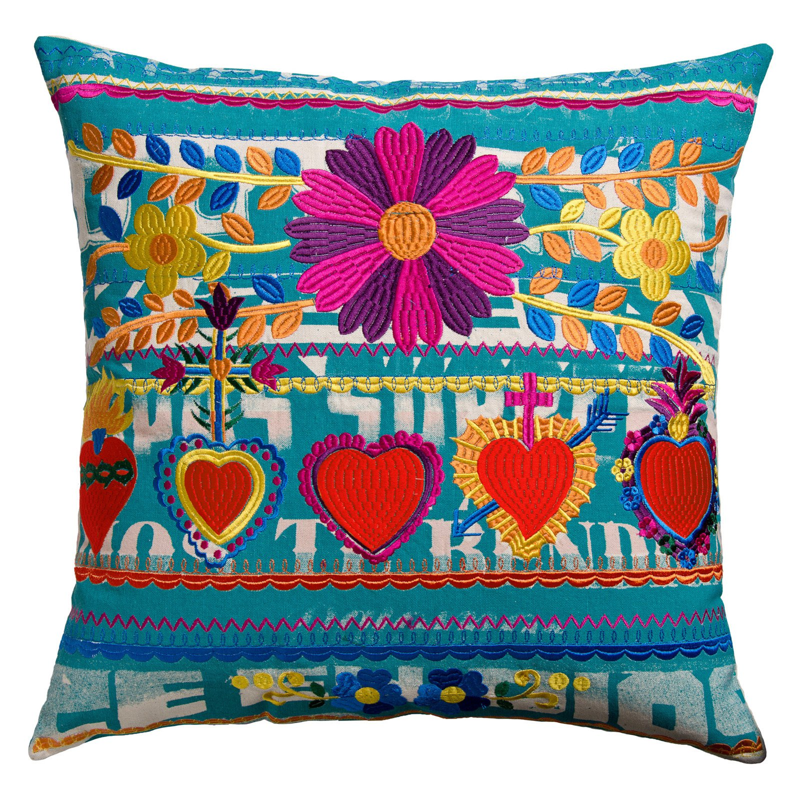 Koko Company 22 in. Mexico Square Pillow - Hearts