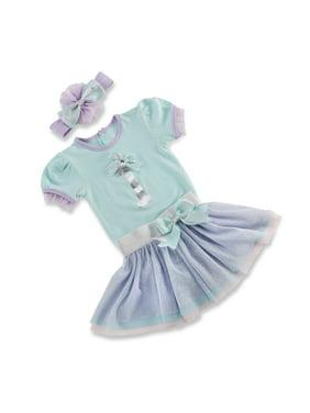My First Birthday Short Sleeve Bodysuit, Tutu Skirt & Headband, 3pc Outfit Set (Baby Girls) 12mo