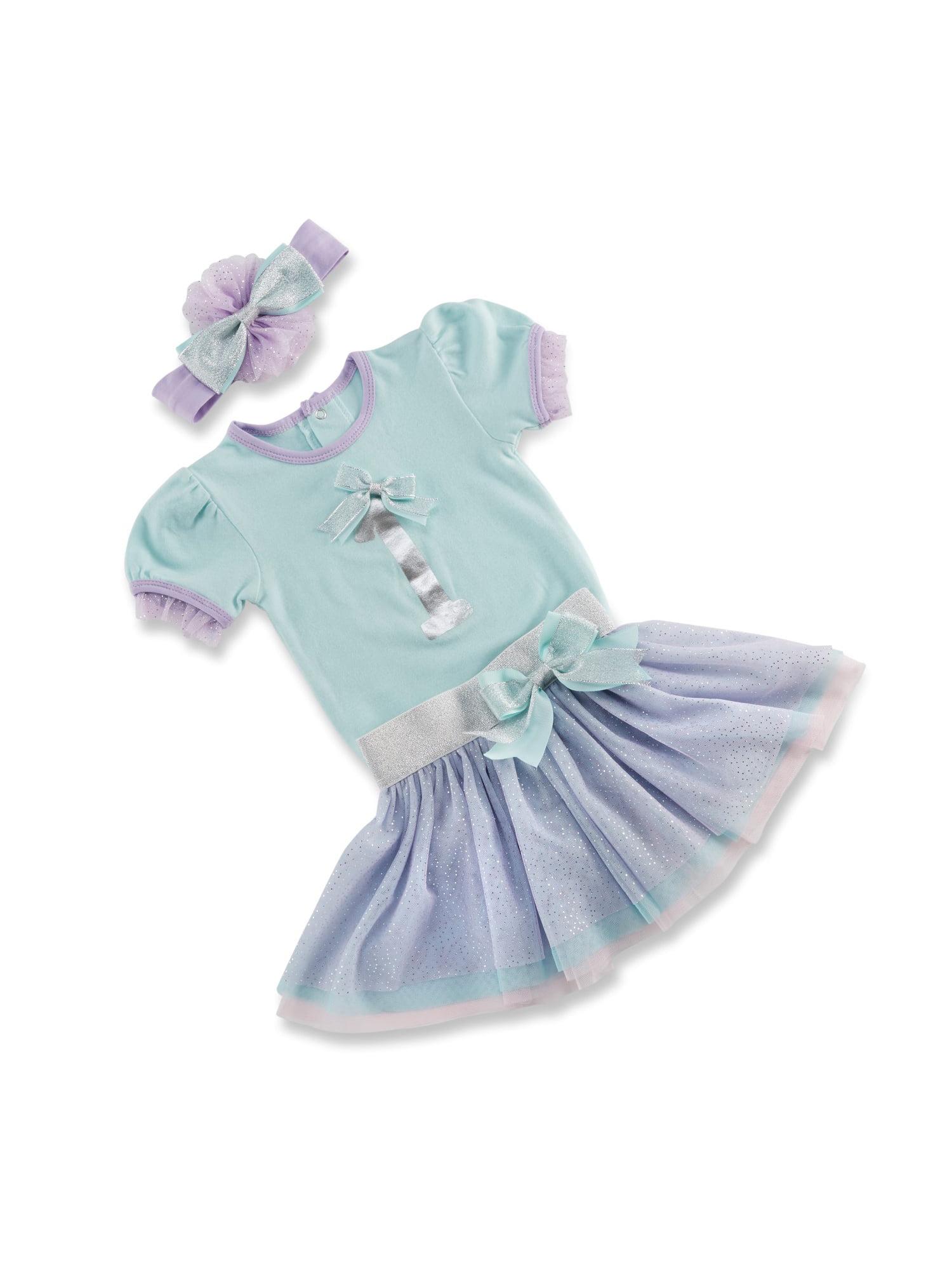 Baby Aspen My First Birthday Short Sleeve Bodysuit, Tutu Skirt & Headband, 3pc Outfit Set (Baby Girls) 12mo.